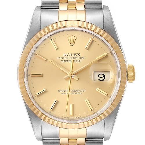 Photo of Rolex Datejust Steel 18K Yellow Gold Fluted Bezel Mens Watch 16233 Papers