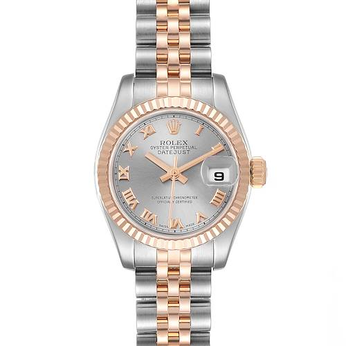 Photo of Rolex Datejust Steel Everose Gold Slate Dial Ladies Watch 179171 Box
