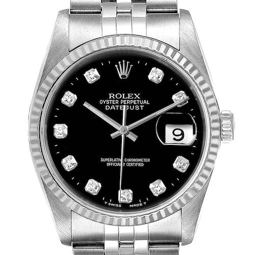 Photo of Rolex Datejust Steel White Gold Black Diamond Dial Mens Watch 16234