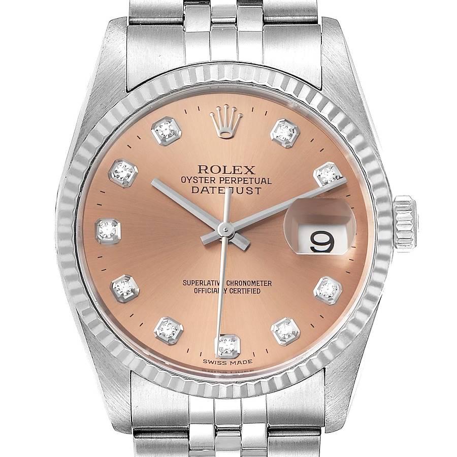 Rolex Datejust Steel White Gold Salmon Diamond Dial Mens Watch 16234 SwissWatchExpo