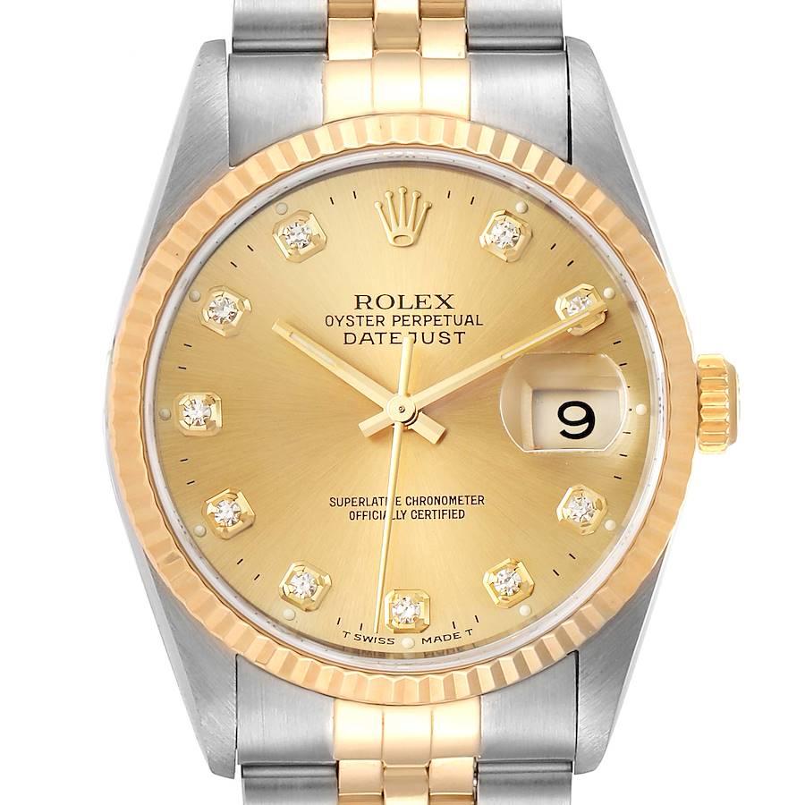 Rolex Datejust Steel Yellow Gold Jubilee Diamond Dial Mens Watch 16233 SwissWatchExpo