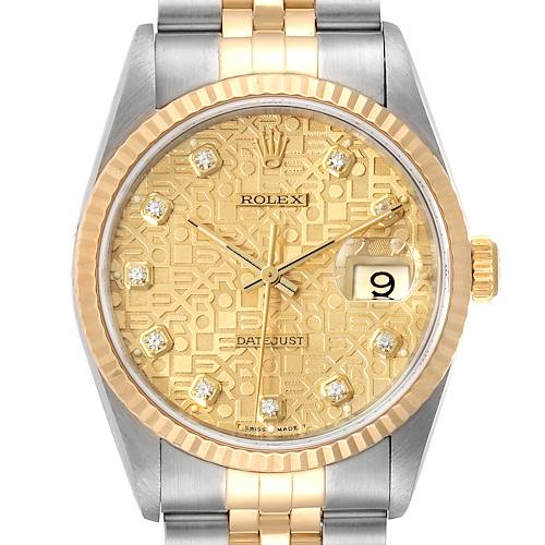 Photo of Rolex Datejust Steel Yellow Gold Jubilee Diamond Dial Mens Watch 16233