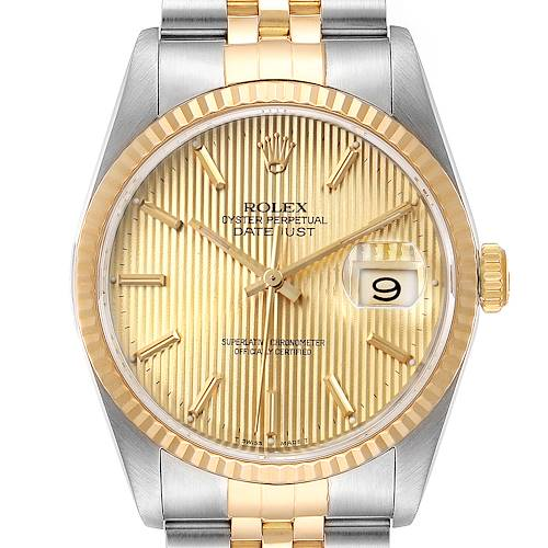 Photo of Rolex Datejust Steel Yellow Gold Tapestry Dial Mens Watch 16233 Papers