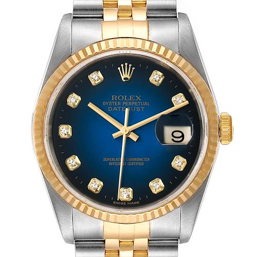 Photo of Rolex Datejust Steel Yellow Gold Vignette Diamond Dial Mens Watch 16233