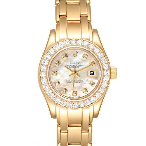 Photo of Rolex Pearlmaster Yellow Gold Diamond Ladies Watch 69298 Box Papers