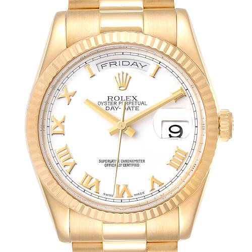 Photo of Rolex President Day Date 36 Yellow Gold White Dial Mens Watch 118238 Box Papers