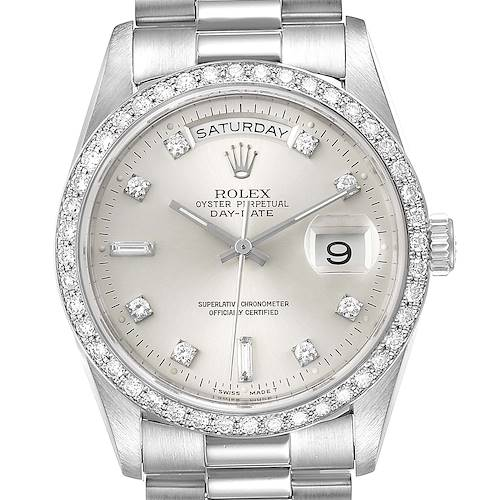 Photo of Rolex President Day-Date Silver Dial Platinum Diamond Mens Watch 18346 Box