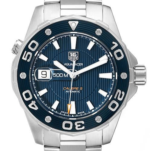 Photo of Tag Heuer Aquaracer Blue Dial Steel Mens Watch WAJ2112 Box Card