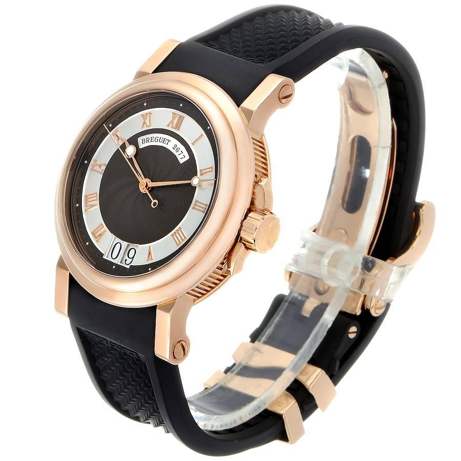 Breguet Marine Big Date Rose Gold Ruber Strap Mens Watch 5817 Box Papers SwissWatchExpo