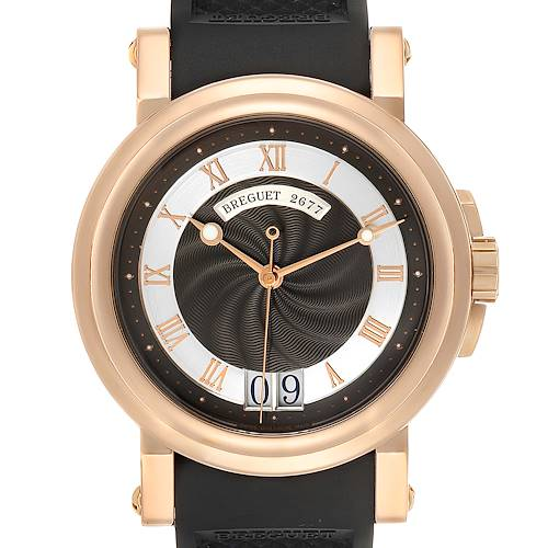 Photo of Breguet Marine Big Date Rose Gold Ruber Strap Mens Watch 5817 Box Papers