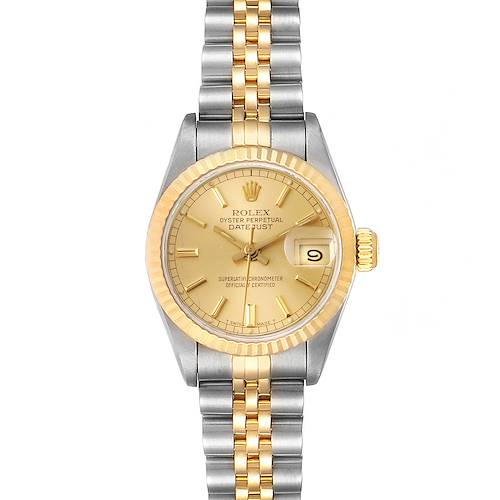 Photo of Rolex Datejust Steel Yellow Gold Fluted Bezel Ladies Watch 69173 Box