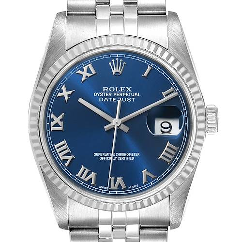 Photo of Rolex Datejust 36 Steel White Gold Blue Dial Mens Watch 16234 Box