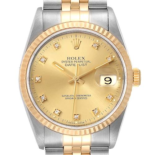 Photo of Rolex Datejust 36 Steel Yellow Gold Diamond Mens Watch 16233