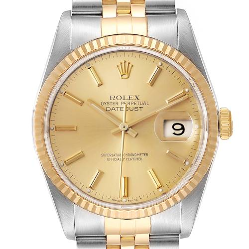 Photo of Rolex Datejust Steel 18K Yellow Gold Fluted Bezel Mens Watch 16233