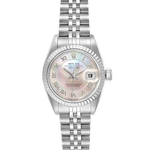 Photo of Rolex Datejust Steel White Gold Decorated MOP Dial Ladies Watch 69174 Box Papers