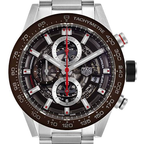 Photo of Tag Heuer Carrera Brown Skeleton Dial Chronograph Watch CAR201U Box Card