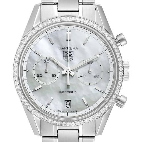 Photo of Tag Heuer Carrera Chronograph MOP Diamond Mens Watch CV2116 Box Card
