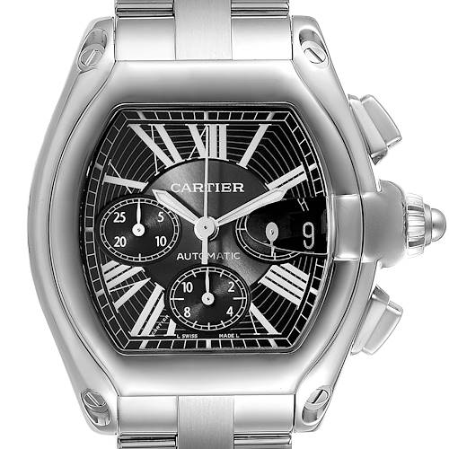 Photo of Cartier Roadster XL Chronograph Black Dial Mens Watch W62020X6 Box