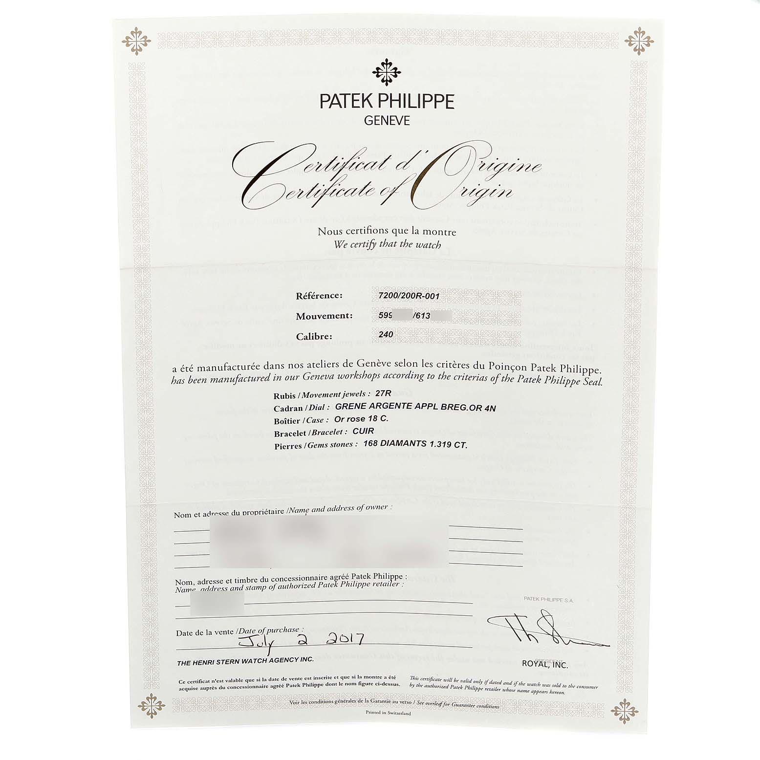 Patek Philippe Calatrava Ultra Thin Rose Gold Diamond Ladies Watch 7200 SwissWatchExpo