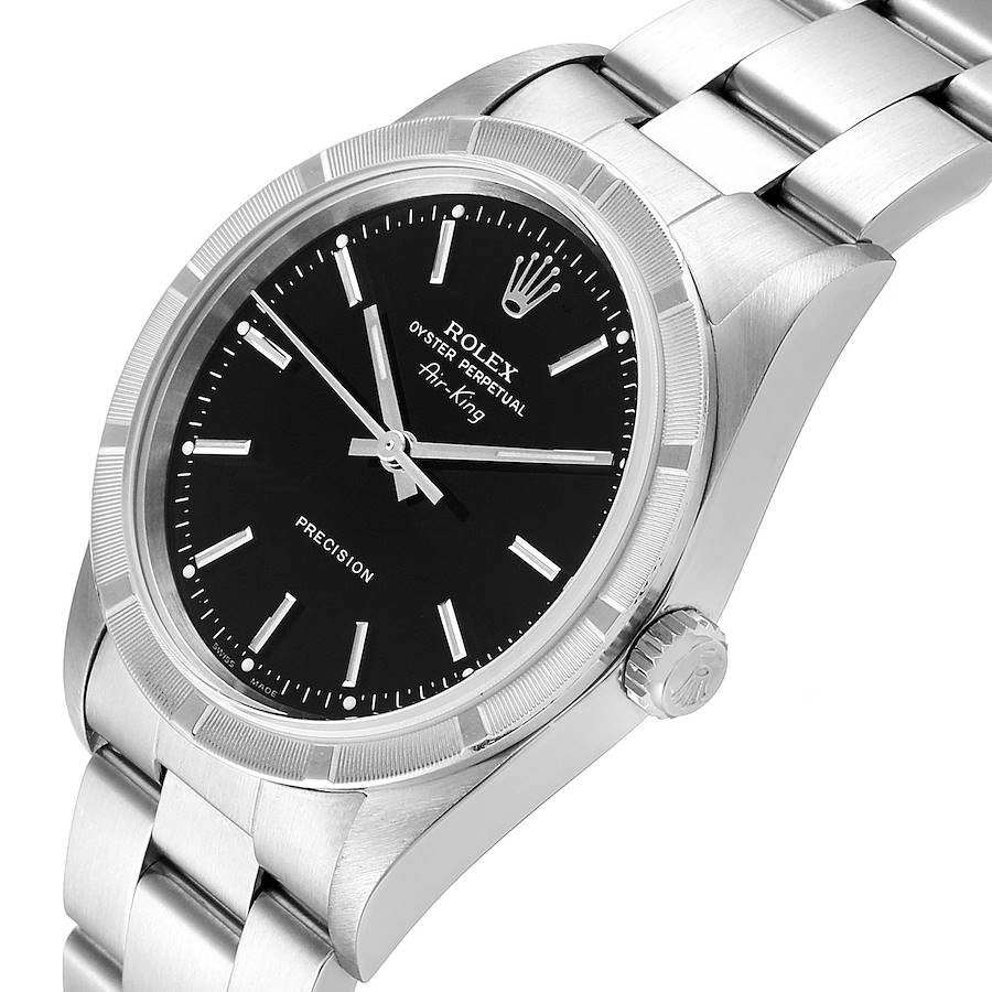 Rolex Air King 34 Black Dial Oyster Bracelet Steeel Mens Watch 14010 Box SwissWatchExpo