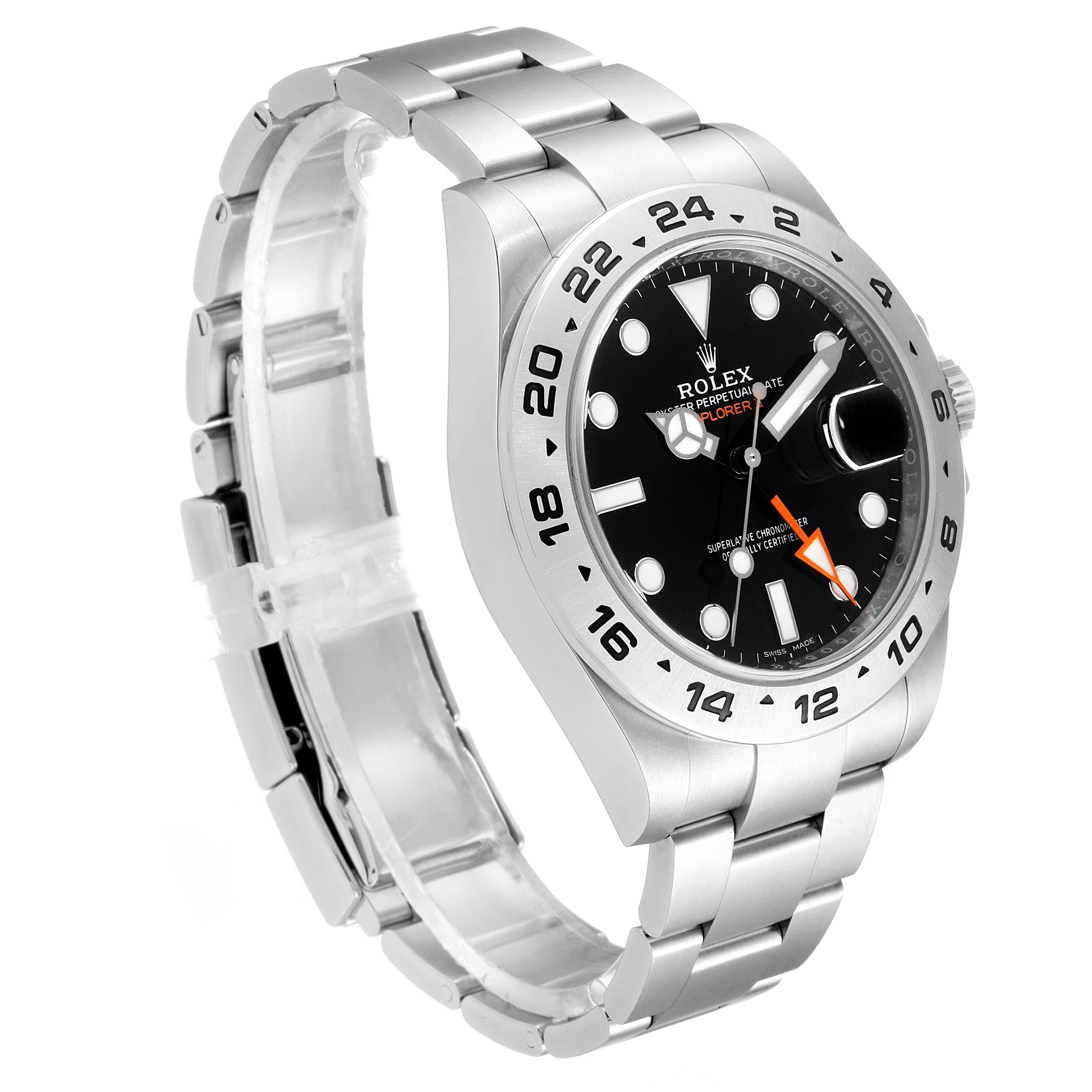 Rolex Explorer II 42 Black Dial Orange Hand Steel Mens Watch 216570 Box SwissWatchExpo