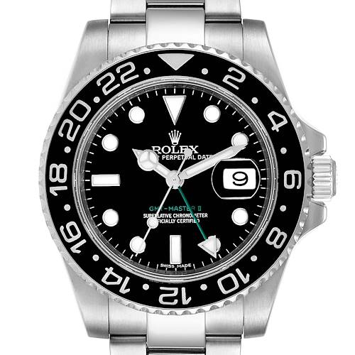 Photo of Rolex GMT Master II Black Dial Steel Mens Watch 116710 Box Card