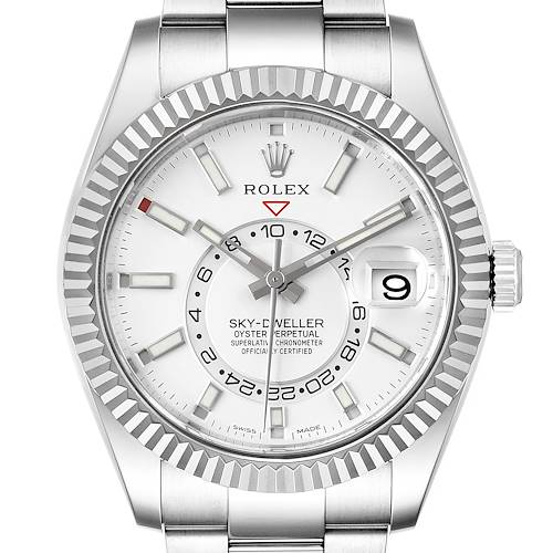 Photo of Rolex Sky-Dweller White Dial Steel White Gold Mens Watch 326934 Box Card