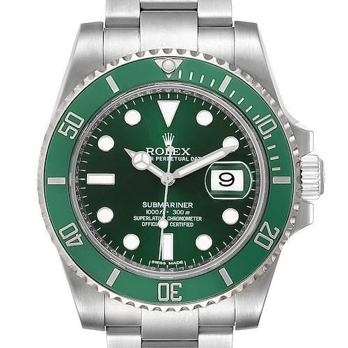 Photo of Rolex Submariner Hulk Green Dial Bezel Mens Watch 116610LV Box Card