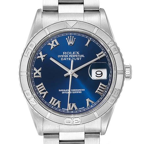 Photo of Rolex Turnograph Datejust Steel White Gold Blue Roman Dial Watch 16264 Papers