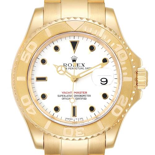 Photo of Rolex Yachtmaster 40 Yellow Gold White Dial Mens Watch 16628 Box Papers