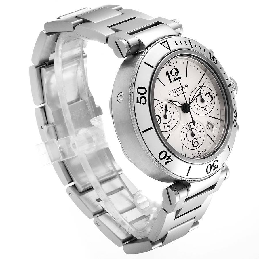 Cartier Pasha Seatimer Chrono Stainless Steel Mens Watch W31089M7 SwissWatchExpo