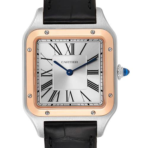 Photo of Cartier Santos Dumont Large Steel Rose Gold Mens Watch W2SA0011 Box Papers