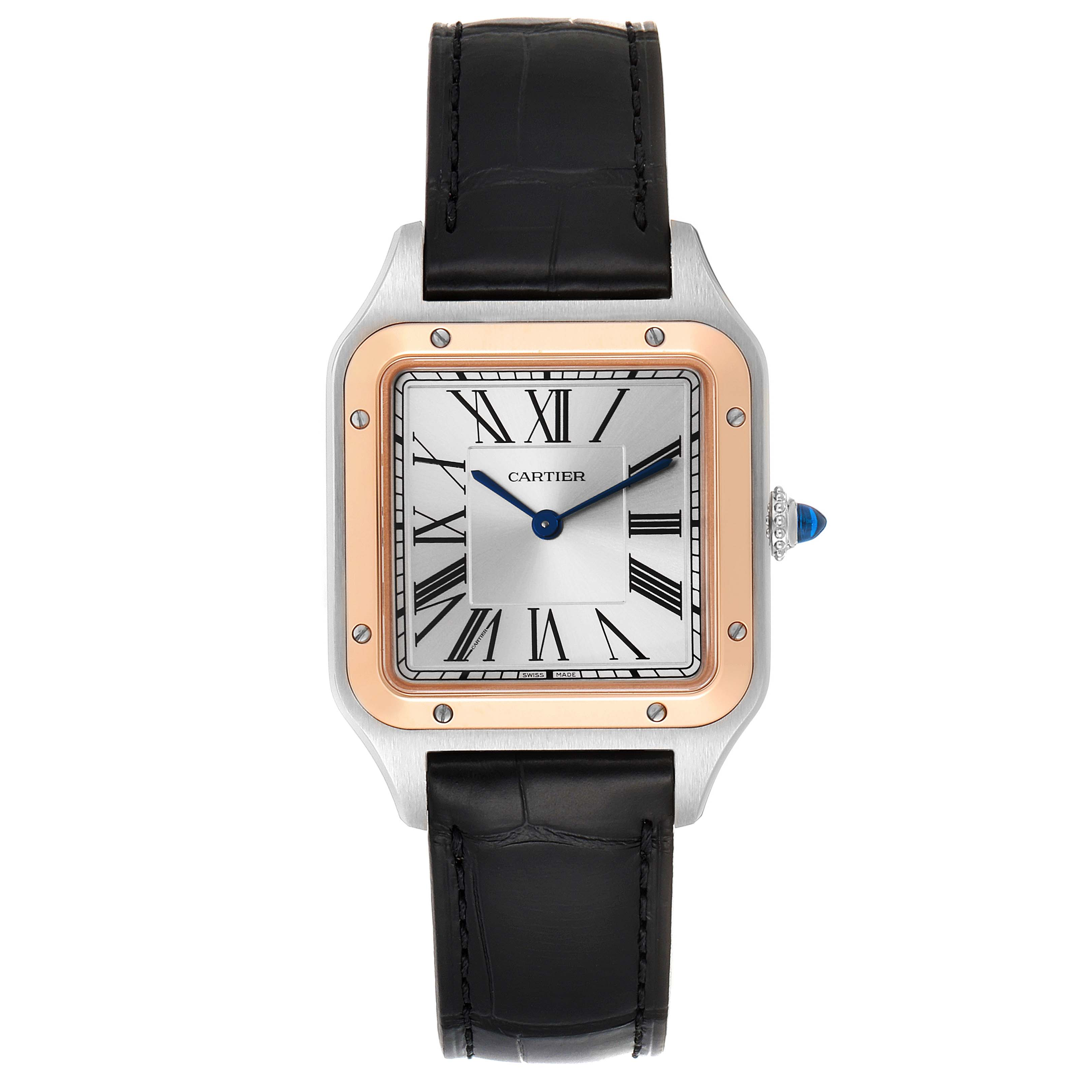 Cartier Santos Dumont Large Steel Rose Gold Mens Watch W2SA0011 Box Papers SwissWatchExpo