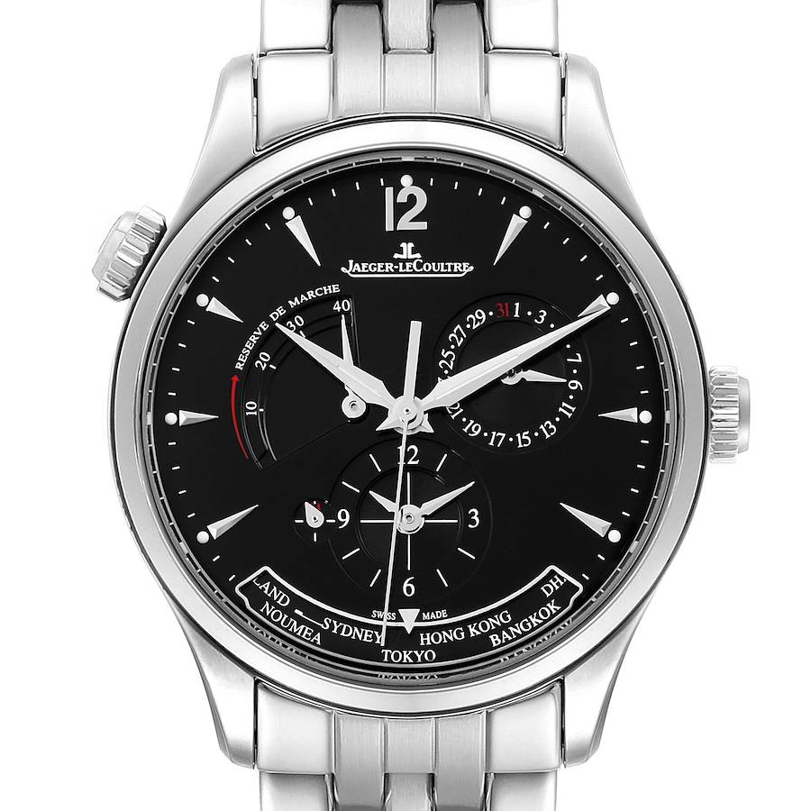 Jaeger Lecoultre Master Geographic Steel Mens Watch 176.8.29.S Q1428171 SwissWatchExpo