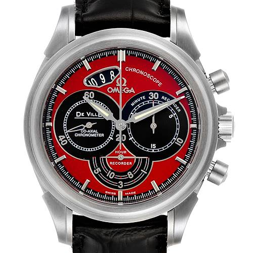 Photo of Omega DeVille Chronoscope Co-Axial Red Dial Mens Watch 4851.61.31 Box Card