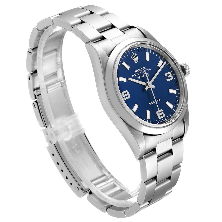 Rolex Air King 34 Blue Baton Dial Domed Bezel Steel Mens Watch 14000 SwissWatchExpo