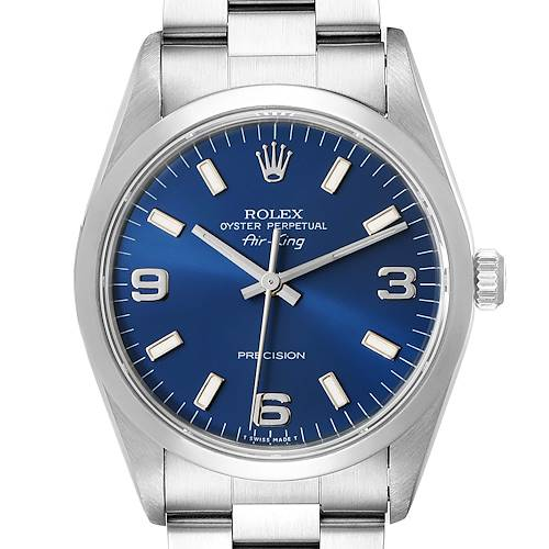 Photo of Rolex Air King 34 Blue Baton Dial Domed Bezel Steel Mens Watch 14000