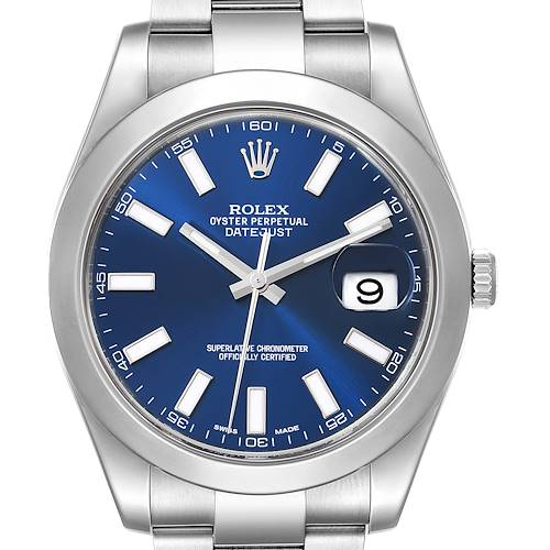 Photo of Rolex Datejust II 41 Blue Dial Steel Mens Watch 116300 Box Card Unworn