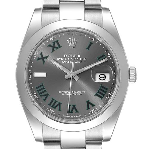 Photo of Rolex Datejust 41 Grey Dial Green Numerals Steel Mens Watch 126300 Unworn