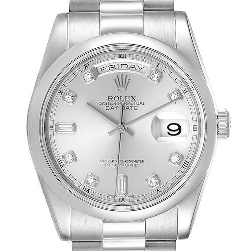 Photo of Rolex President Day-Date Platinum Diamond Mens Watch 118206