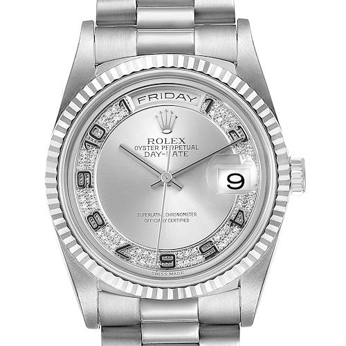 Photo of Rolex President Day-Date White Gold Myriad Diamond Mens Watch 18239