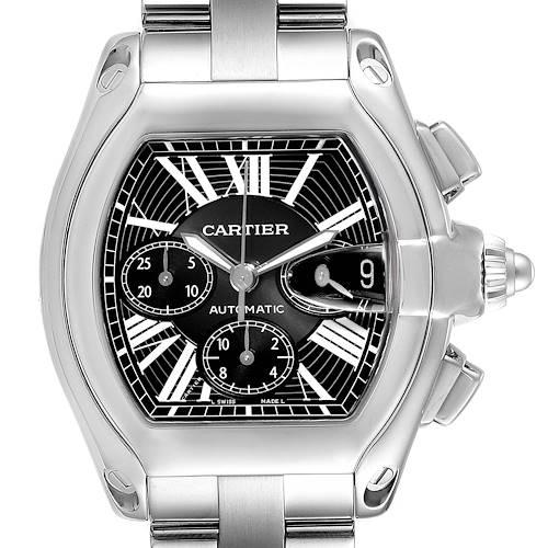 Photo of Cartier Roadster XL Chronograph Black Dial Mens Watch W62020X6 Box