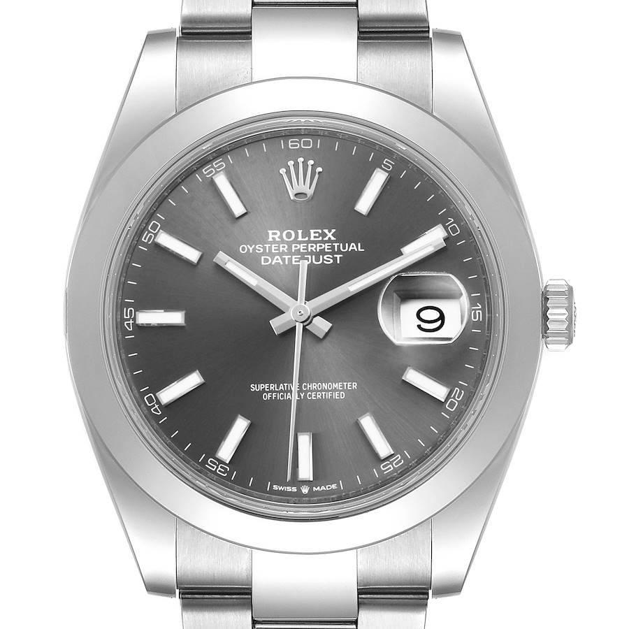 Rolex Datejust 41 Grey Dial Steel Mens Watch 126300 Box Card Unworn SwissWatchExpo
