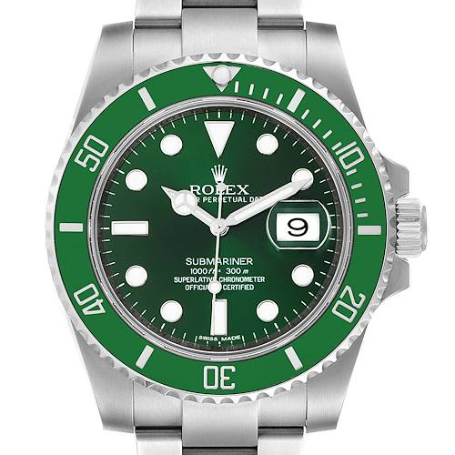 Photo of Rolex Submariner Hulk Green Dial Bezel Mens Watch 116610LV Box Card Unworn