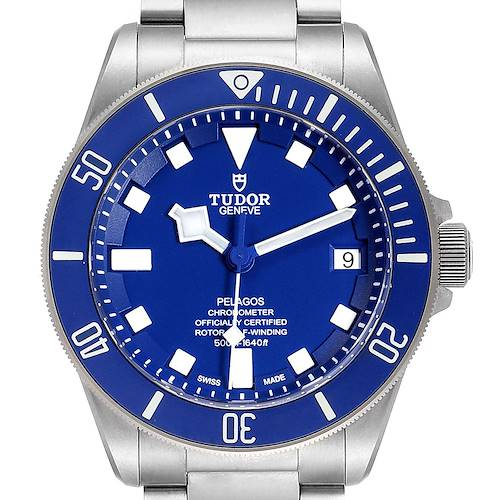 Photo of Tudor Pelagos Blue Dial Automatic Titanium Mens Watch 25600 Box Card