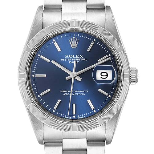 Photo of Rolex Date Blue Dial Oyster Bracelet Steel Mens Watch 15210