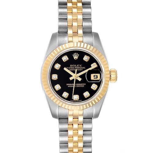 Photo of Rolex Datejust Steel Yellow Gold Black Diamond Dial Ladies Watch 179173
