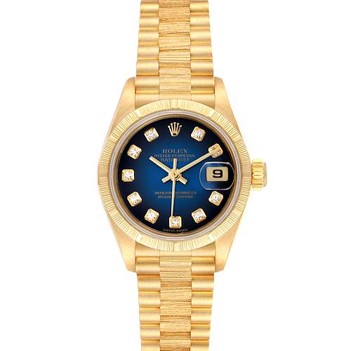 Photo of Rolex President Yellow Gold Blue Vignette Diamond Dial Ladies Watch 69278
