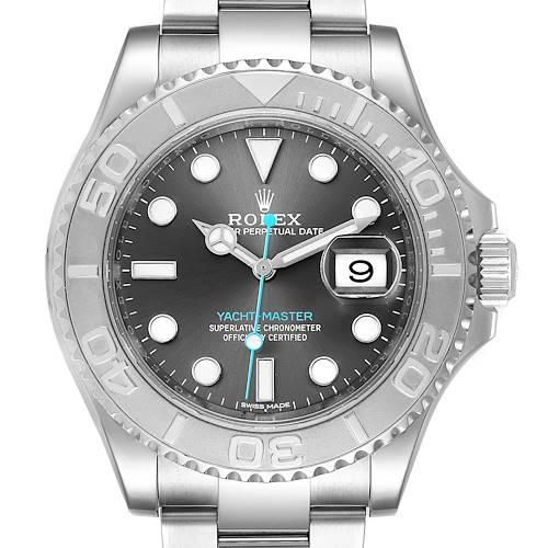 Photo of Rolex Yachtmaster Rhodium Dial Steel Platinum Mens Watch 116622