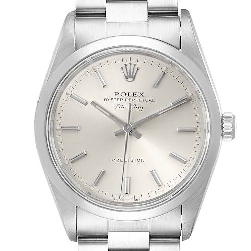 Photo of Rolex Air King 34mm Silver Dial Domed Bezel Steel Mens Watch 14000